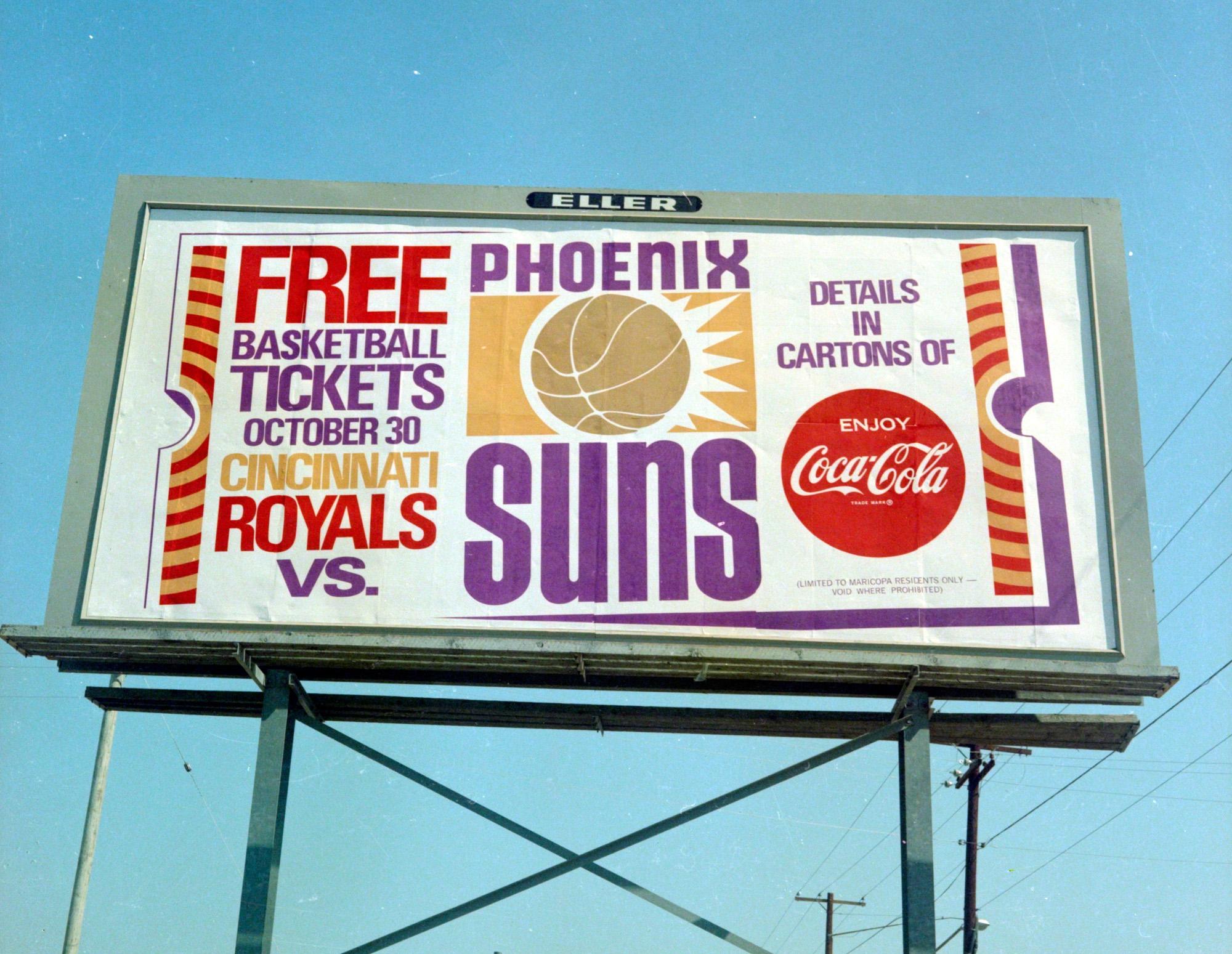 Vintage 1969-70 Phoenix Suns NBA billboard ad