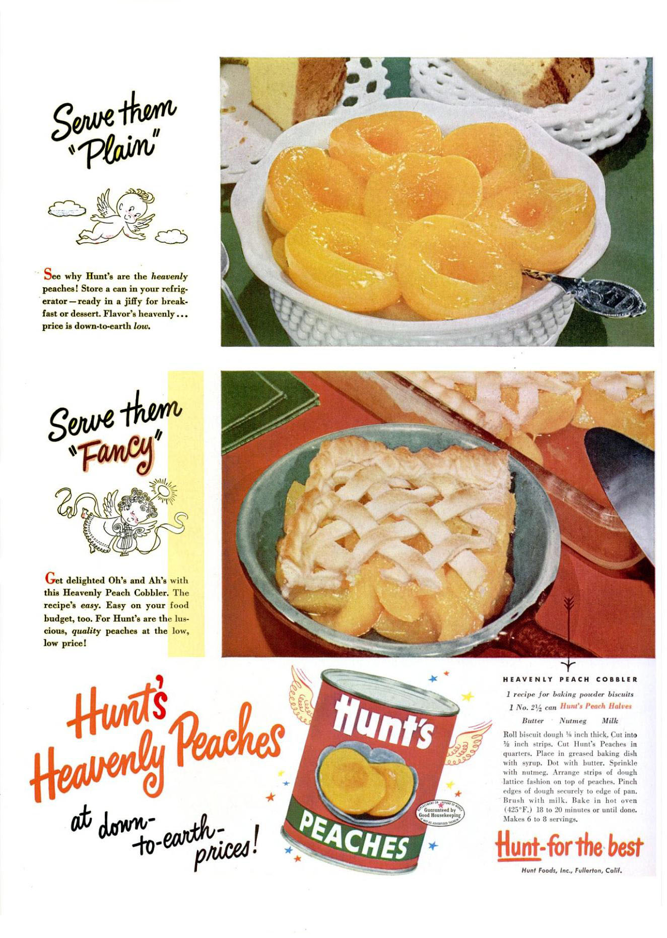 Hunt's Heavenly Peach Cobbler recipe from Life - March 17, 1952