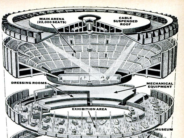 An Exploded View Drawing of Madison Square Garden, 1967