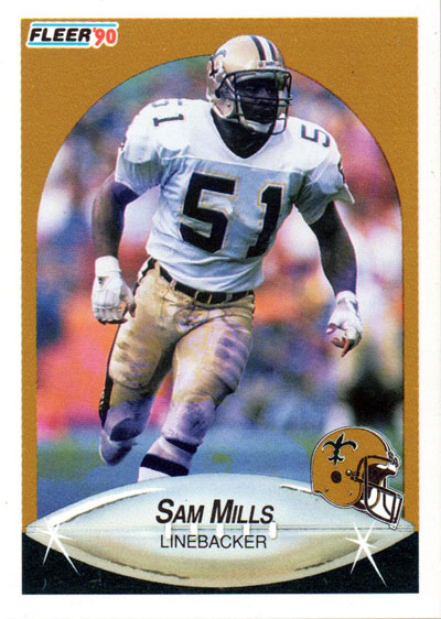 Sam Mills 1990 Fleer football card