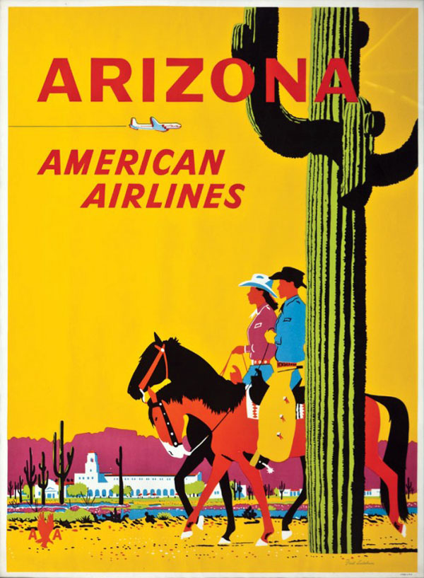 Vintage Airline Travel Poster / American Airlines - Arizona