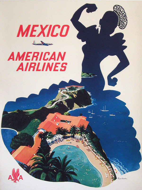 Vintage Airline Travel Poster / American Airlines - Mexico
