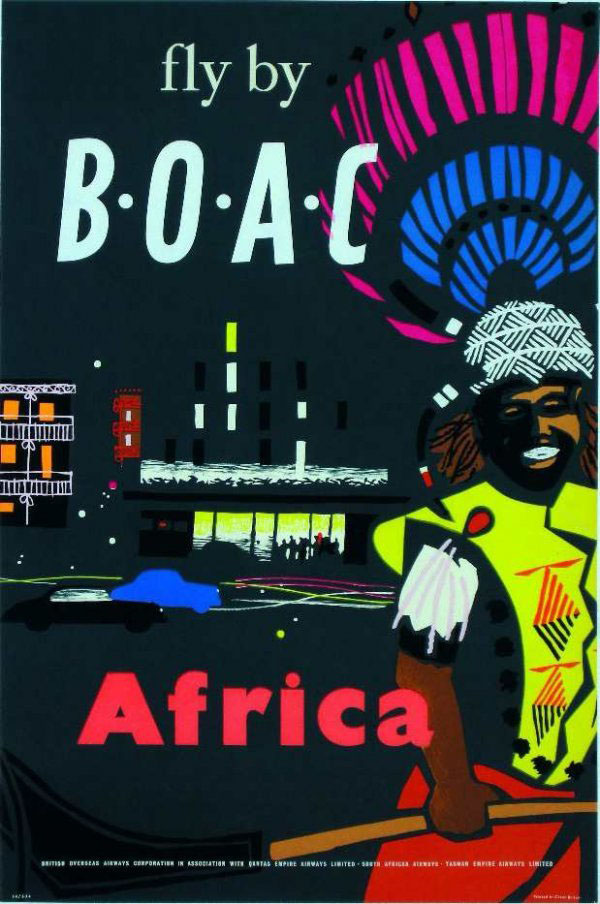 Vintage Airline Travel Poster / BOAC - Africa