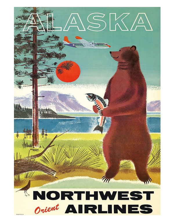 Vintage Airline Travel Poster / Northwest Orient Airlines - Alaska