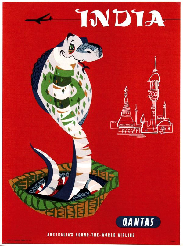 Vintage Airline Travel Poster / Qantas - India