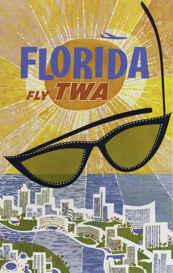 Vintage Airline Travel Poster / TWA - Florida