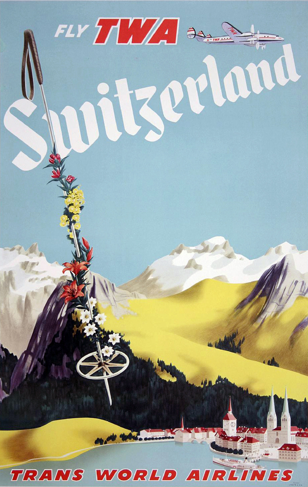 Vintage Airline Travel Poster / TWA - Switzerland