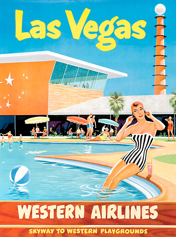 Vintage Airline Travel Poster / Western Airlines - Las Vegas