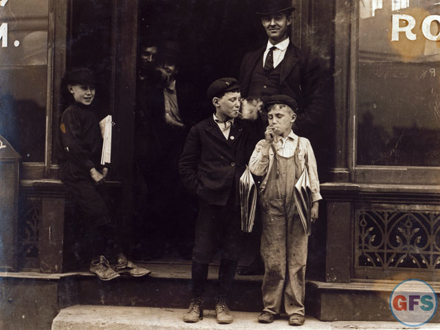 Vintage Photograph: Smoking Newsboys in St. Louis, 1910