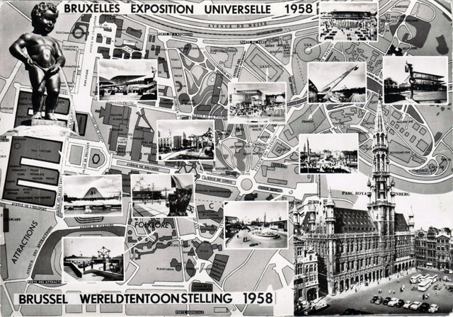 Vintage World's Fair postcard - Expo 58 (Brussels)