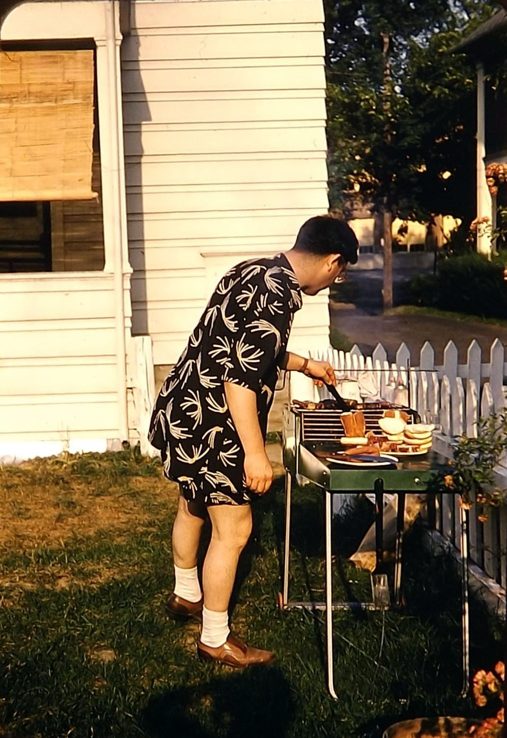Cooking out on the grill, 1950s
