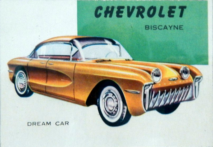 1955 Chevrolet Biscayne Topps World on Wheels card