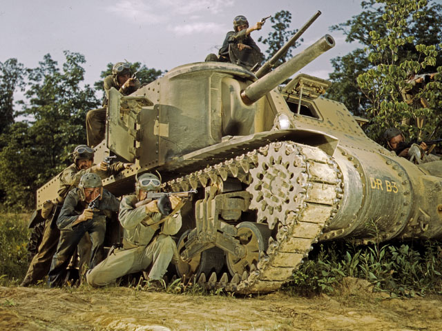 M3 Tank and Crew Using Small Arms, Ft. Knox, Ky., 1942