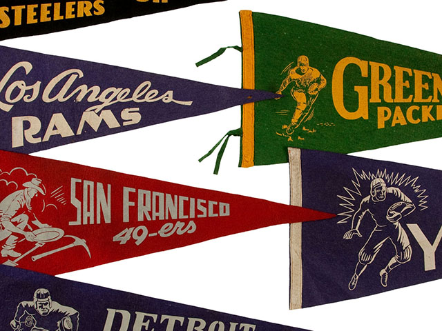 Vintage NFL Team Pennants from the Early 1950s