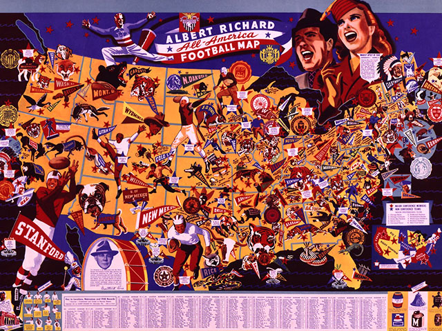 Albert Richard All American Football Map, by F.E. Cheesman, 1941.