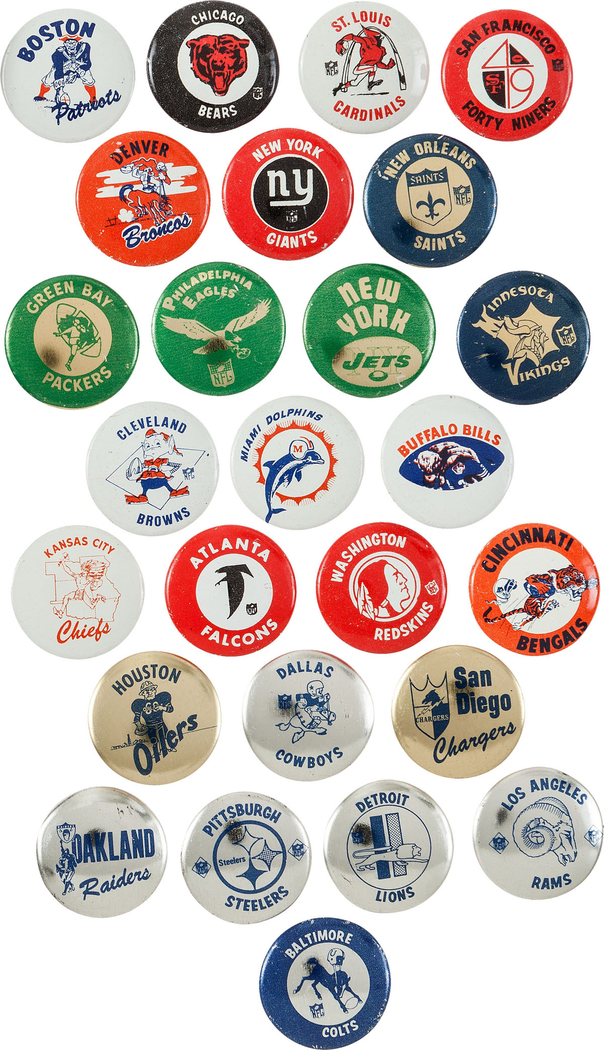 AFL/NFL Pins, Late 1960s