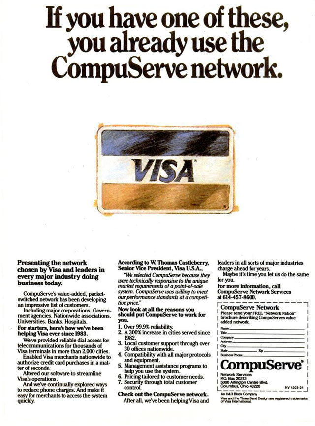 Vintage CompuServe advertisement (1986)