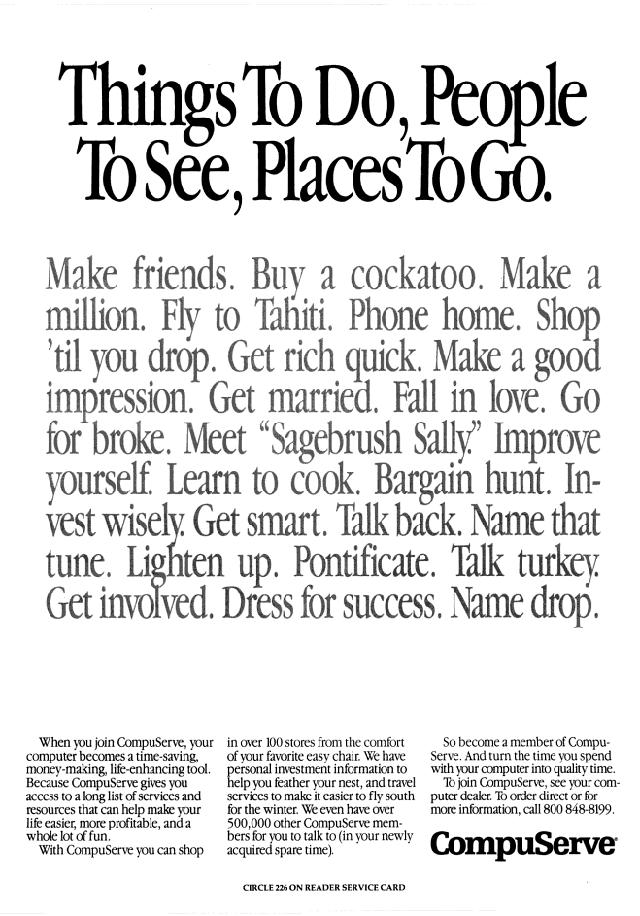 Vintage CompuServe advertisement (1989)