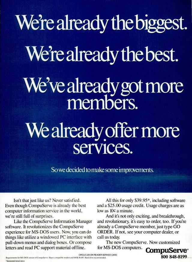 Vintage CompuServe advertisement (1990)