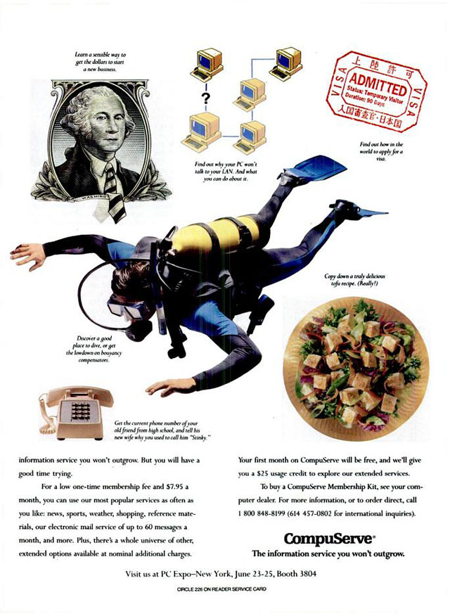 Vintage CompuServe advertisement (1992)
