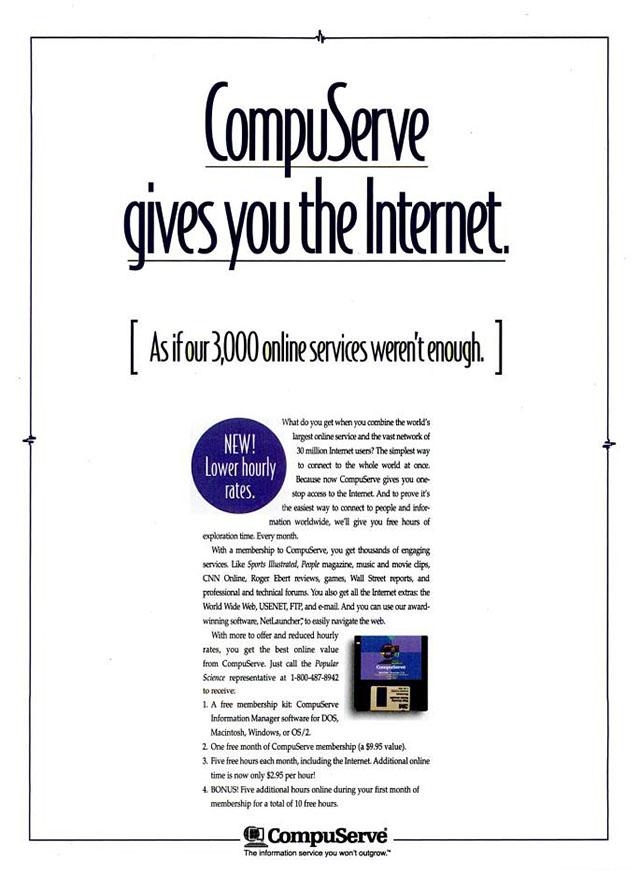 Vintage CompuServe advertisement (1995)