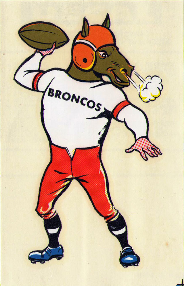 Vintage 1969 AFL/NFL Team Mascot Decal - Denver Broncos