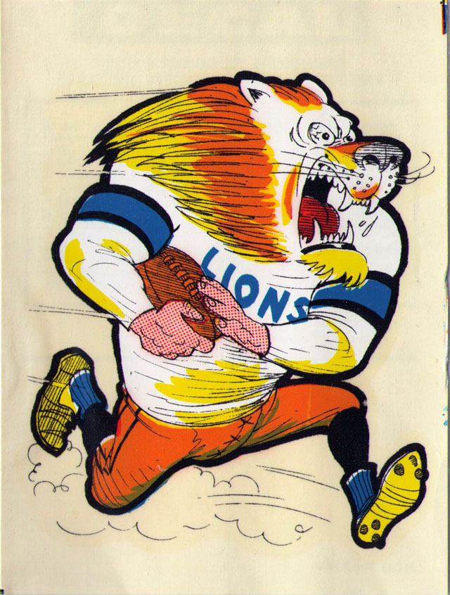 Vintage 1969 AFL/NFL Team Mascot Decal - Detroit Lions