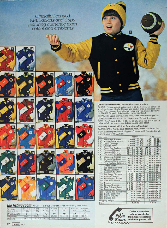 National Football League (NFL) jackets, Sears 1980 fall catalog