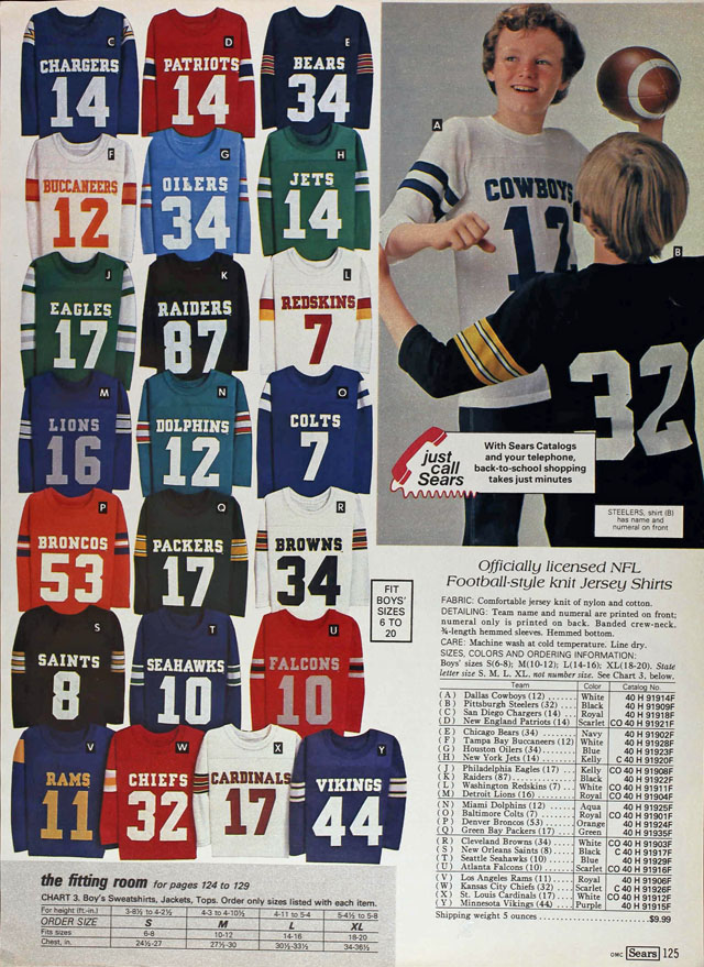 National Football League (NFL) jersey shirts, Sears 1980 fall catalog