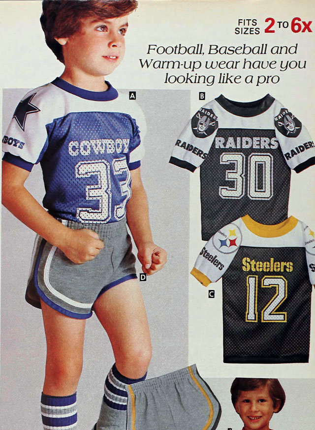 National Football League (NFL) jersey shirts, Sears 1982 spring catalog