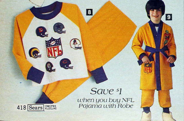National Football League (NFL) pajamas and robe, Sears 1979 fall catalog