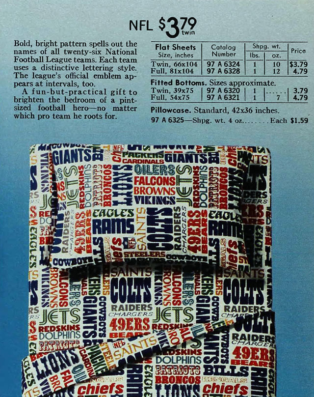 National Football League (NFL) sheets, Sears 1973 spring catalog