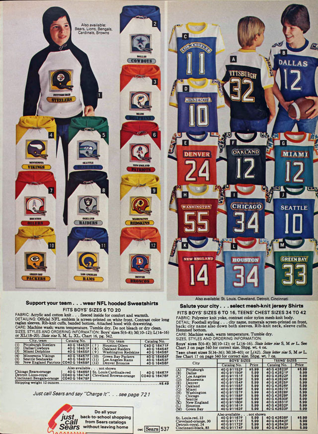 National Football League (NFL) sweatshirts and shirts, Sears 1979 fall catalog