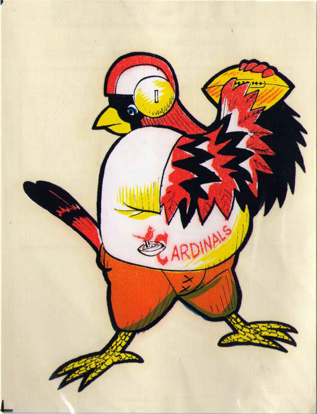 Vintage 1969 AFL/NFL Team Mascot Decal - St. Louis Cardinals