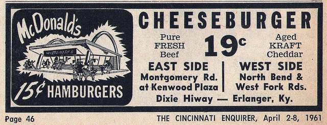 McDonald's ad (Cincinnati Enquirier, 1961)