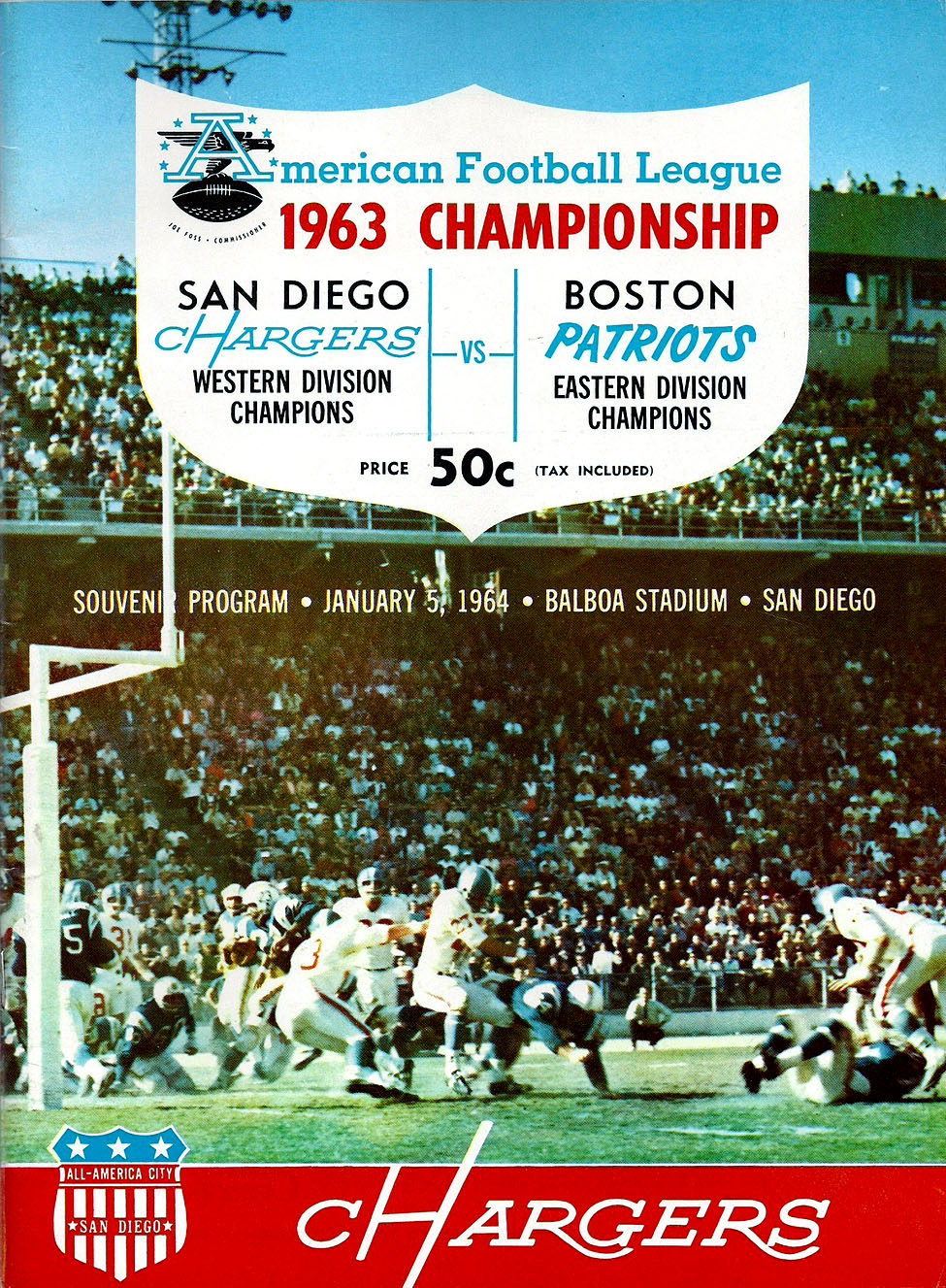 AFL Championship: Boston Patriots at San Diego Chargers — January 5, 1964