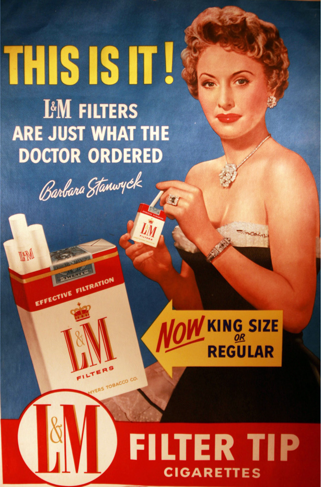 Celebrity Smoking Ad - Barbara Stanwyck for L&M, undated