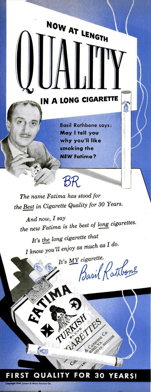 Celebrity Smoking Ad - Basil Rathbone for Fatima, 1949