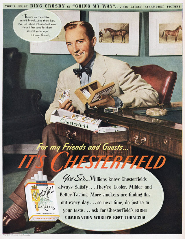Celebrity Smoking Ad - Bing Crosby for Chesterfield, 1944
