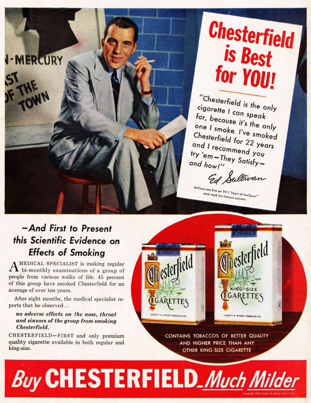 Celebrity Smoking Ad - Ed Sullivan for Chesterfield, 1953