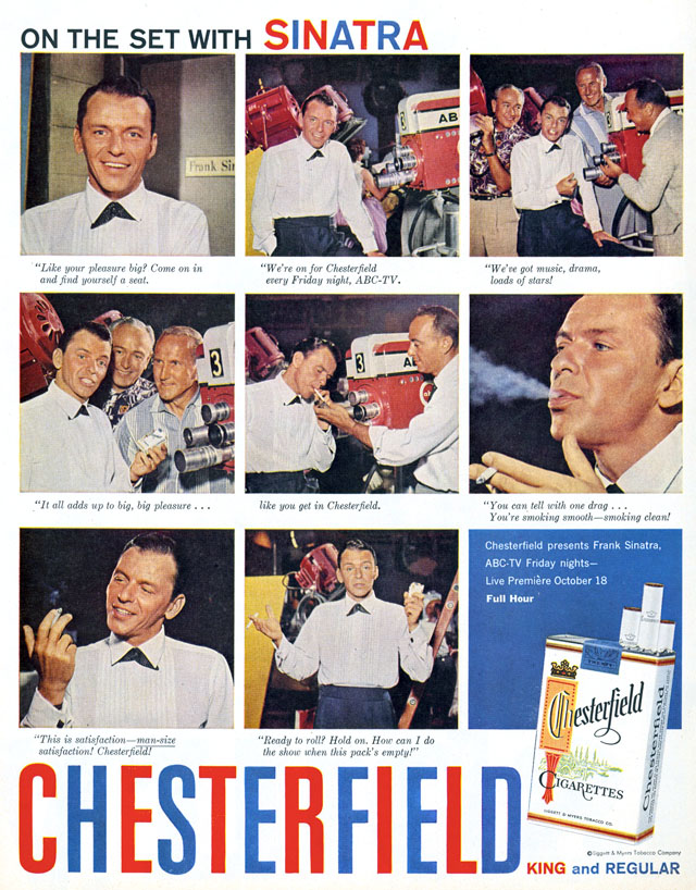 Celebrity Smoking Ad - Frank Sinatra for Chesterfield, 1957
