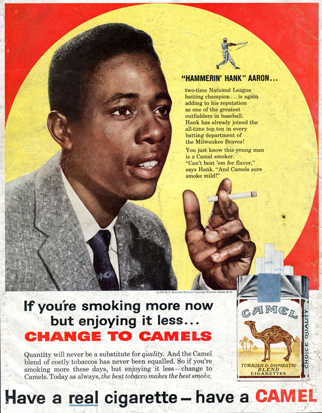 Celebrity Smoking Ad - Hank Aaron for Camel, 1962