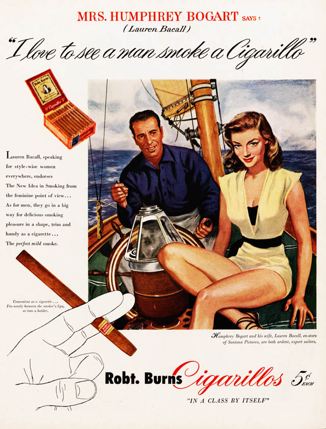 Celebrity Smoking Ad - Lauren Bacall and Humphrey Bogart for Robert Burns, 1948