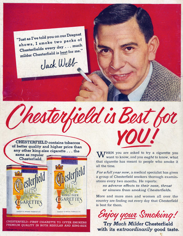 Celebrity Smoking Ad - Jack Webb for Chesterfield, 1953