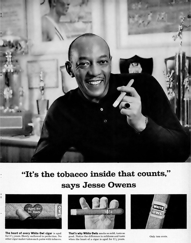 Celebrity Smoking Ad - Jesse Owens for White Owl, 1960