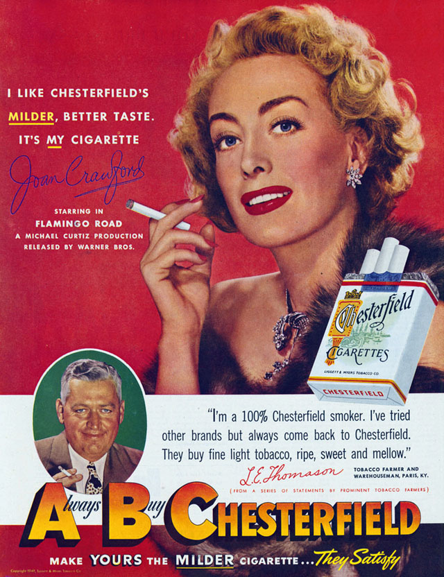 Celebrity Smoking Ad - Joan Crawford for Chesterfield, 1950