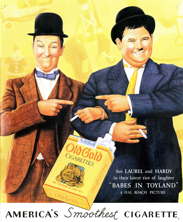 Celebrity Smoking Ad - Laurel and Hardy for Old Gold, 1937