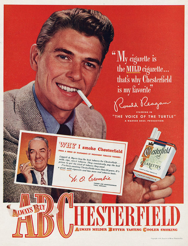 Celebrity Smoking Ad - Ronald Reagan for Chesterfield, 1948