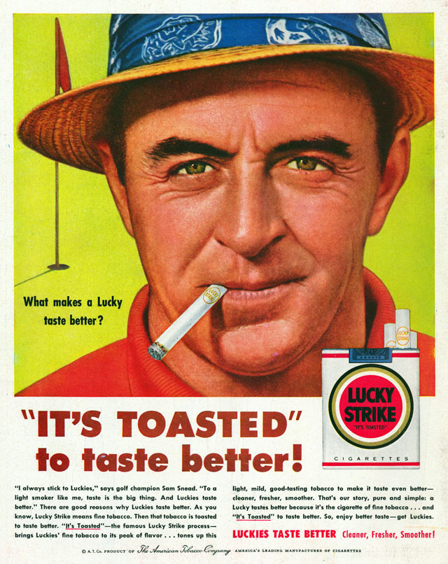 Celebrity Smoking Ad - Sam Snead for Lucky Strike, 1954