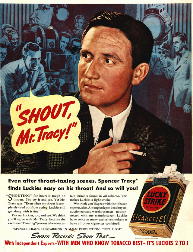 Celebrity Smoking Ad - Spencer Tracy for Lucky Strike, 1938